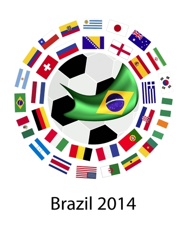 Brazil 2014, An Illustration of The Flags of 32 Nations Around A Soccer Ball of of Football  in Brazil.  Vector
