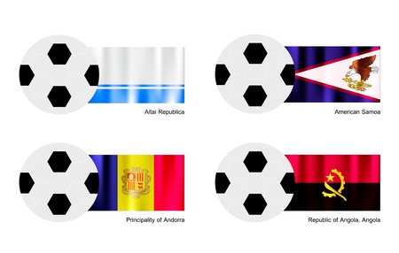 altai: An Illustration of Soccer Balls or Footballs with Flags of Altai Republic, American Samoa, Andorra and Republic of Angola, Angola on Isolated on A White Background.