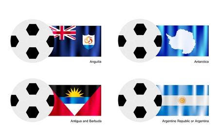 antartide: L'illustrazione di palloni da calcio o da calcio con bandiere di Anguilla, Antartide, Antigua e Barbuda e Argentina su isolati su uno sfondo bianco. Vettoriali