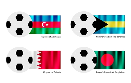 bahamas celebration: An Illustration of Soccer Balls or Footballs with Flags of Azerbaijan, Bahamas, Bahrain and Bangladesh on Isolated on A White Background.