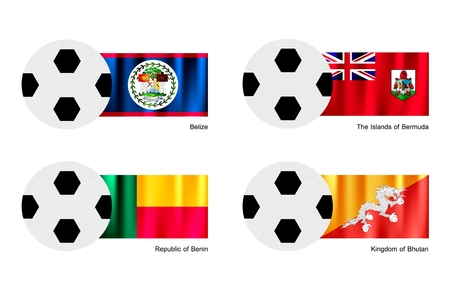 An Illustration of Soccer Balls or Footballs with Flags of Belize, The Islands of Bermuda, Republic of Benin and Kingdom of Bhutan on Isolated on A White Background.