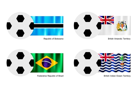 An Illustration of Soccer Balls or Footballs with Flags of Botswana, British Antarctic Territory, Brazil and British Indian Ocean Territory on Isolated on A White Background.