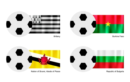 brittany: An Illustration of Soccer Balls or Footballs with Flags of Brittany, Burkina Faso, Brunei and Bulgaria on Isolated on A White Background.  Illustration
