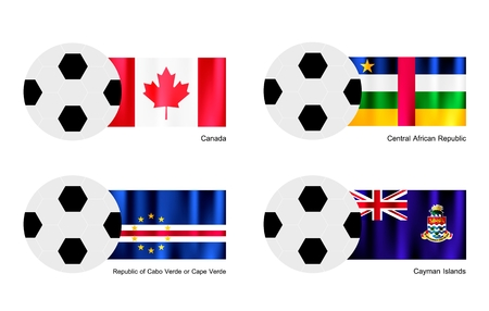 An Illustration of Soccer Balls or Footballs with Flags of Canada, Central African Republic, Republic of Cabo Verde or Cape Verde and Cayman Islands.  Vector