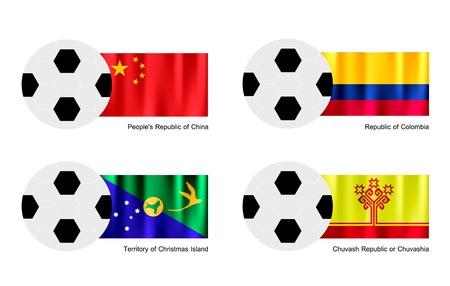 people's republic of china: An Illustration of Soccer Balls or Footballs with Flags of China, Colombia, Christmas Island and Chuvash Republic or Chuvashia on Isolated on A White Background.  Illustration