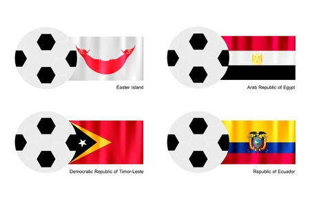 republic of ecuador: An Illustration of Soccer Balls or Footballs with Flags of Easter Island, Egypt, Timor Leste and Ecuador on Isolated on A White Background.