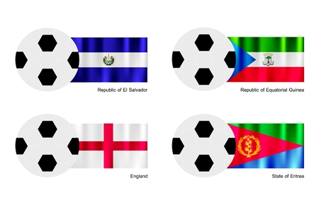 guinea equatoriale: L'illustrazione di palloni da calcio o da calcio con bandiere di El Salvador, Guinea Equatoriale, Eritrea Inghilterra e su isolati su uno sfondo bianco.