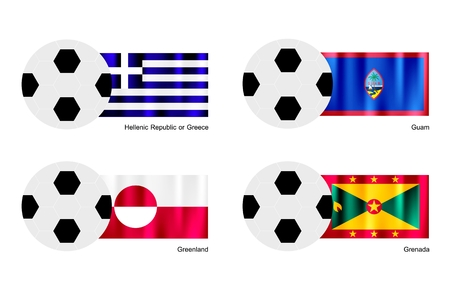 hellenic: An Illustration of Soccer Balls or Footballs with Flags of Hellenic Republic or Greece, Guam, Greenland and Grenada on Isolated on A White Background.