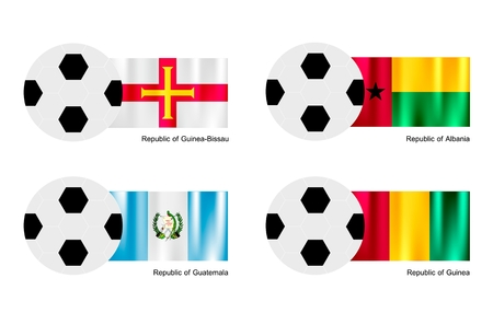 An Illustration of Soccer Balls or Footballs with Flags of Guinea Bissau, Albania, Guatemala and Guinea on Isolated on A White Background.  Vector