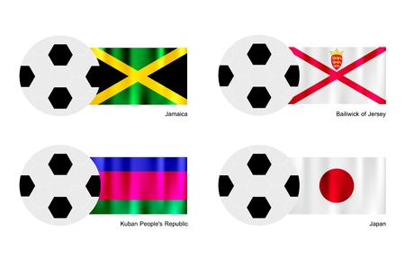 bailiwick: An Illustration of Soccer Balls or Footballs with Flags of Jamaica, Bailiwick of Jersey, Kuban and Japan on Isolated on A White Background.  Illustration