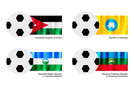 An Illustration of Soccer Balls or Footballs with Flags of Jordan, Kalmykia, Kabardino Balkaria and Karachay Cherkessia on Isolated on A White Background.   Vector