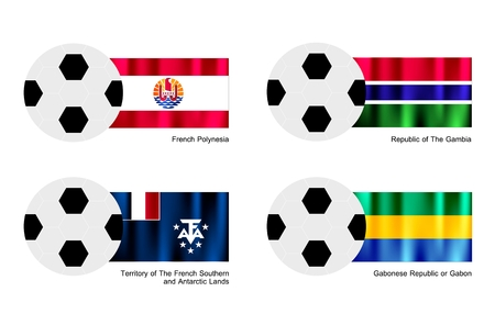 An Illustration of Soccer Balls or Footballs with Flags of French Polynesia, The Gambia, French Southern and Antarctic Lands and Gabonese Republic or Gabon.