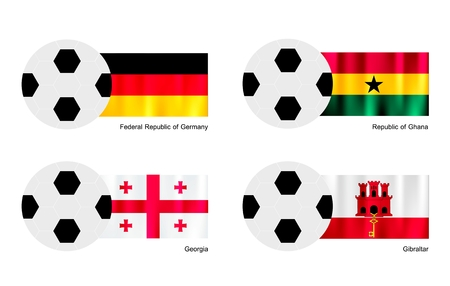 gibraltar: An Illustration of Soccer Balls or Footballs with Flags of Germany, Ghana, Georgia and Gibraltar on Isolated on A White Background.  Illustration