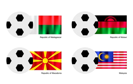 An Illustration of Soccer Balls or Footballs with Flags of Madagascar, Malawi, Macedonia and Malaysia on Isolated on A White Background.  Vector