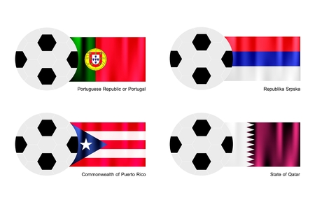 An Illustration of Soccer Balls or Footballs with Flags of Aland Islands, Albania, Alderney and Algeria on Isolated on A White   Vector