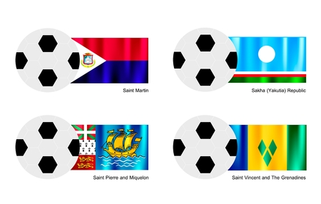 martin: An Illustration of Soccer Balls or Footballs with Flags of Saint Martin, Sakha (Yakutia) Republic, Saint Pierre and Miquelon and Saint Vincent and The Grenadines.  Ilustracja