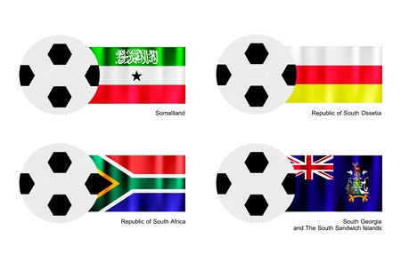 somaliland: An Illustration of Soccer Balls or Footballs with Flags of Somaliland, South Ossetia, South Africa and South Georgia and The South Sandwich Islands.