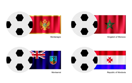 montserrat: An Illustration of Soccer Balls or Footballs with Flags of Montenegro, Morocco, Montserrat and Mordovia on Isolated on A White   Illustration