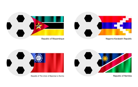 Soccer Balls or Footballs with Flags of Mozambique, Nagorno Karabakh, The Union of Myanmar or Burma and Namibia on Isolated on A White   Vector