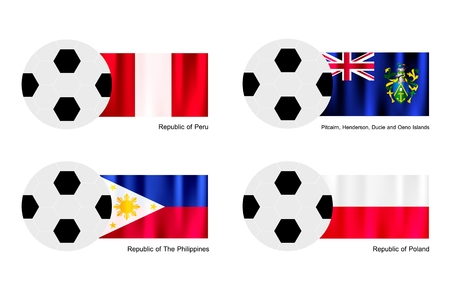 pitcairn: An Illustration of Soccer Balls or Footballs with Flags of Peru, Pitcairn Islands, Philippines and Poland on Isolated on A White .