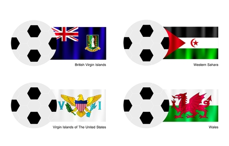 virgin islands: An Illustration of Soccer Balls or Footballs with Flags of British Virgin Islands, Western Sahara, Virgin Islands of The United States and  Wales.