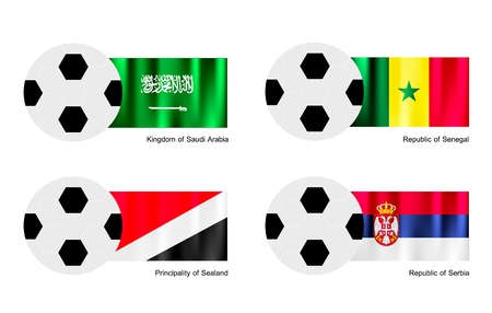 An Illustration of Soccer Balls or Footballs with Flags of Saudi Arabia, Senegal, Principality of Sealand and Serbia on Isolated on A White .  Vector