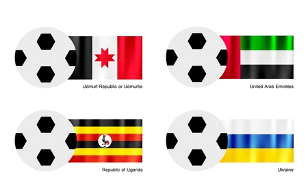 An Illustration of Soccer Balls or Footballs with Flags of Udmurtia, United Arab Emirates, Uganda and Ukraine Isolated on A White .  Vector