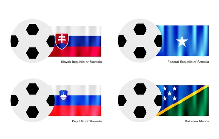 slovak: An Illustration of Soccer Balls or Footballs with Flags of Slovak Republic or Slovakia, Somalia, Slovenia and Solomon Islands Isolated on A White .  Illustration