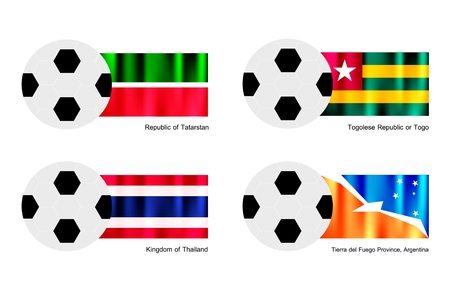 del: An Illustration of Soccer Balls or Footballs with Flags of Tatarstan, Togolese Republic or Togo, Thailand and Tierra del Fuego Province, Argentina.   Illustration
