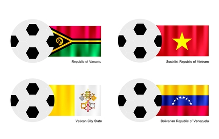 An Illustration of Soccer Balls or Footballs with Flags of Vanuatu, Vietnam, Vatican City State and Venezuela Isolated on A White .  Vector