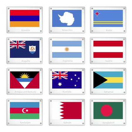 anguilla: National Flags of Armenia, Antarctica, Aruba, Anguilla, Argentina, Austria, Antigua and Barbuda, Australia, Bahamas, Azerbaijan, Bahrain and Bangladesh on Metal Texture Plates with Screws.  Illustration