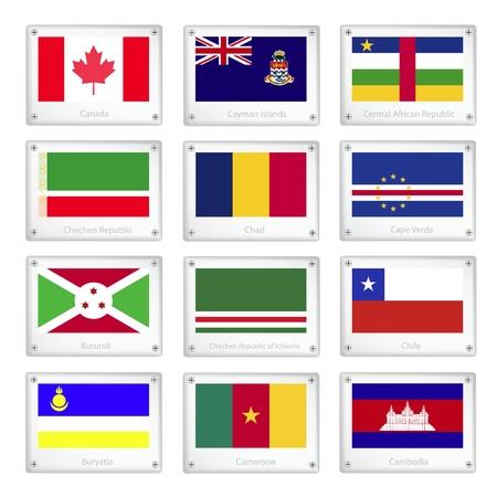 Flags of Canada, Cayman Islands, Central African Republic, Chechen Republic, Chad, Cape Verde, Burundi, Ichkeria, Chile, Buryatia, Cameroon and Cambodia on Metal Texture Plates.  Vector