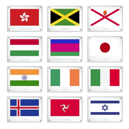 National Flags of Hong Kong, Jamaica, Jersey, Hungary, Kuban Peoples Republic, Japan, India, Ireland, Italy, Iceland, Isle of Man and Israel on Metal Texture Plates with Screws.   Vector