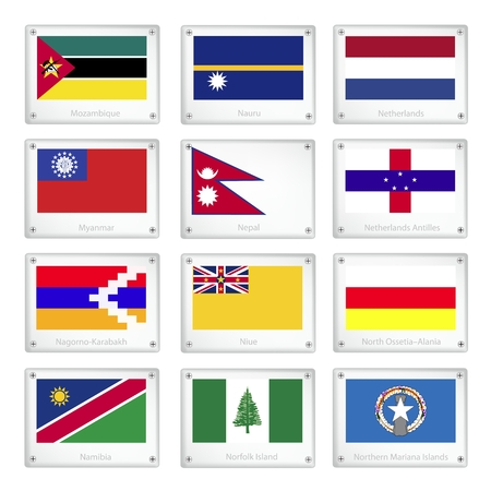 Flags of Mozambique, Nauru, Netherlands, Myanmar, Nepal, Netherlands Antilles, Nagorno Karabakh, Niue, North Ossetia Alania, Namibia, Norfolk Island and Northern Mariana Islands.   Vector