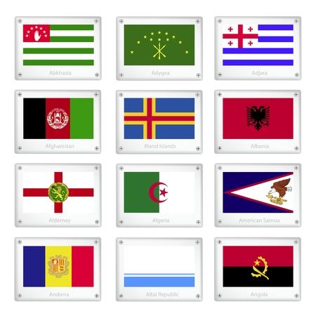 altai: Flags of Abkhazia, Adygea, Adjara, Afghanistan, Aland Islands, Albania, Alderney, Algeria, American Samoa, Andorra, Altai Republic and Angola on Metal Texture Plates.