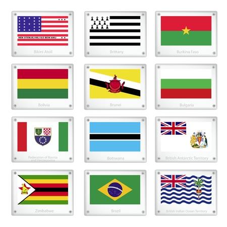 Flags of Bikini Atoll, Brittany, Burkina Faso, Bolivia, Brunei, Bulgaria, Bosnia and Herzegovina, Botswana, British Antarctic Territory, Zimbabwe, Brazil and British Indian Ocean Territory. Stock Vector - 25968904