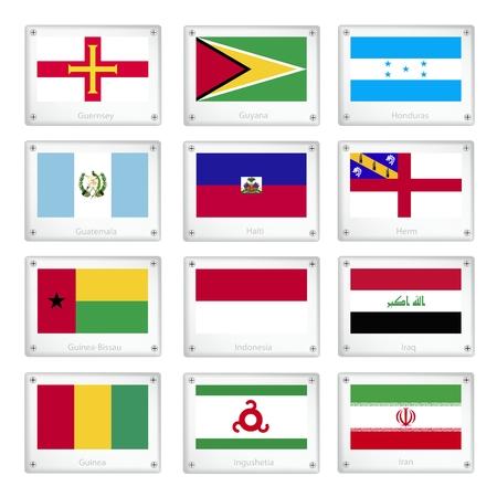 National Flags of Guernsey, Guyana, Honduras, Guatemala, Haiti, Herm, Guinea-Bissau, Indonesia, Iraq, Guinea, Ingushetia and Iran on Metal Texture Plates with Screws.