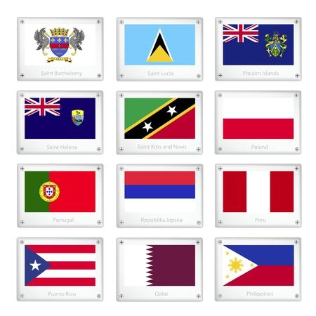pitcairn: National Flags of Saint Barthelemy, Saint Lucia, Pitcairn Islands, Saint Helena, Saint Kitts and Nevis, Poland, Portugal, Republika Srpska, Peru, Puerto Rico, Qatar and Philippines.
