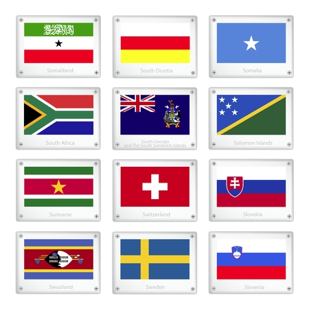 suriname: Flags of Somaliland, South Ossetia, Somalia, South Africa, South Georgia, Solomon Islands, Suriname, Switzerland, Slovakia, Swaziland, Sweden and Slovenia on Metal Texture Plates.