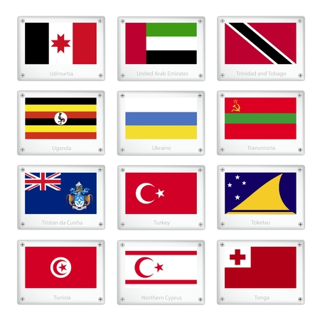 national flag trinidad and tobago: Flags of Udmurtia, United Arab Emirates, Trinidad and Tobago, Uganda, Ukraine, Transnistria, Tristan, Turkey, Tokelau, Tunisia, Northern Cyprus and Tonga on Metal Texture Plates.  Illustration