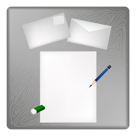 A Sharpened Pencil and Eraser Lying on Blank Paper with A Postcard and A Letter on Grey Wooden Table  Vector