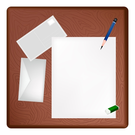 A Sharpened Pencil and Eraser Lying on Blank Paper with A Postcard and A Letter on Dark Brown Wooden Table  Vector