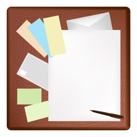 A Ballpoint Pen and Adhesive Note Lying on Blank Paper with A Postcard and Envelope on Dark Brown Wooden Table.  Vector