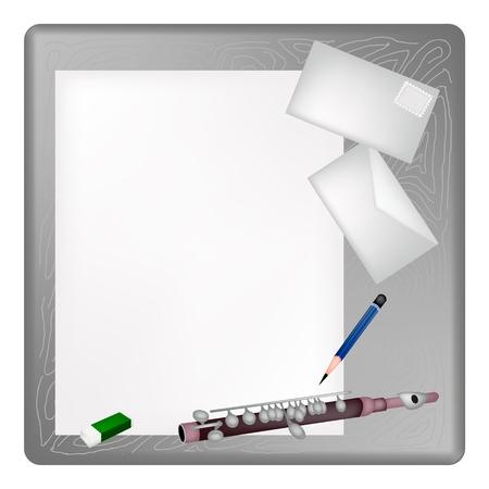fagot: Zaostrzone Ołówek, Gumka i Vintage Symphonic Piccolo Leżąc na czysty papier z koperty na szarym drewnianym stole.