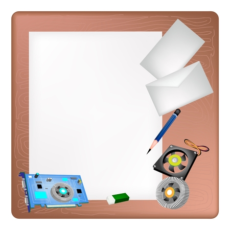 video card: A Sharpened Pencil, Eraser, Computer Graphic Card or Video Card and Power Supply Lying on Blank Paper with A Postcard and A Letter on Brown Wooden Table.