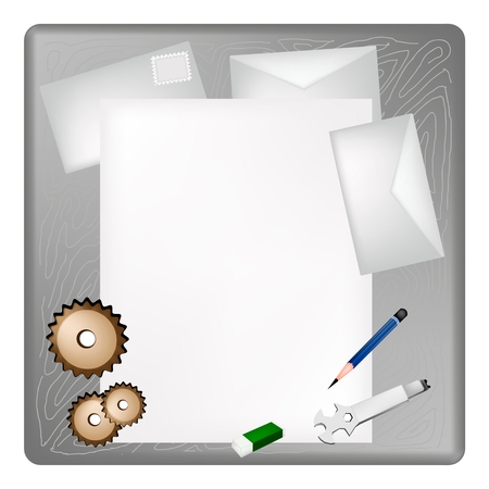 sharpened: A Sharpened Pencil, Eraser, Gears and Wrench Lying on Blank Paper with Envelope on Grey Wooden Table.  Illustration