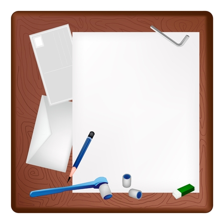 A Sharpened Pencil, Eraser, Hex Keys and Socket Wrench Lying on Blank Paper with A Postcard and Envelope on Dark Brown Wooden Table.  Vector