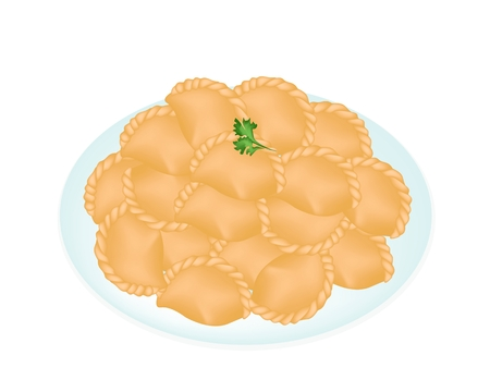 Thai Snack, Vector Illustration of Freshly Homemade Mini Curry Puffs Filled with Meat, Potatoes and Curry in A Dish Isolated on White Background