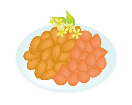 甘い食べ物: タイのデザート、甘い食べ物やタイ風手作り黄金甘い肉盛り合わせ 2 つの味のデザート食品のベクトル イラスト