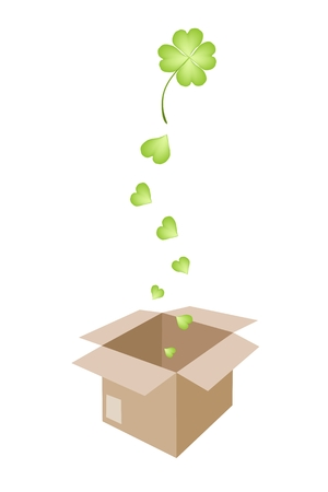 cloverleafes: Vector Illustration of Lovely Fresh Four Leaf Clover Plants or Shamrock Falling in A Cardboard Box for Shipping or Delivery to St. Patricks Day Celebration.